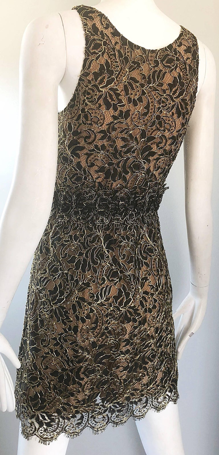 Balenciaga by Nicolas Ghesquiere Black + Gold + Nude Silk Chiffon Lace Dress For Sale 3