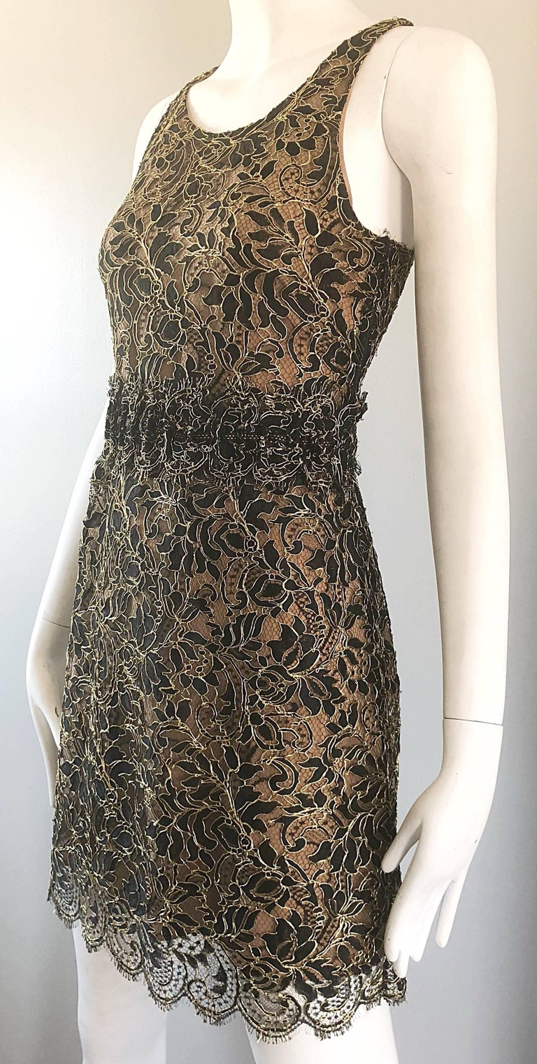Balenciaga by Nicolas Ghesquiere Black + Gold + Nude Silk Chiffon Lace Dress For Sale 4
