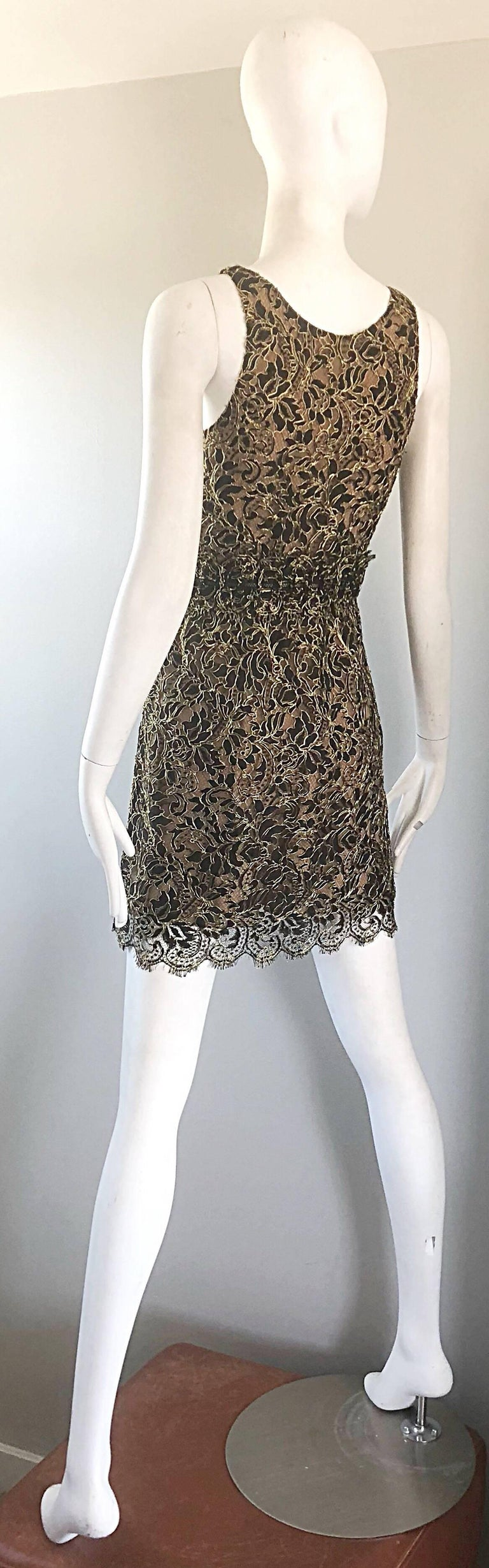 Balenciaga by Nicolas Ghesquiere Black + Gold + Nude Silk Chiffon Lace Dress For Sale 5