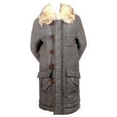 BALENCIAGA by NICOLAS GHESQUIERE quilted chambray coat with fur collar