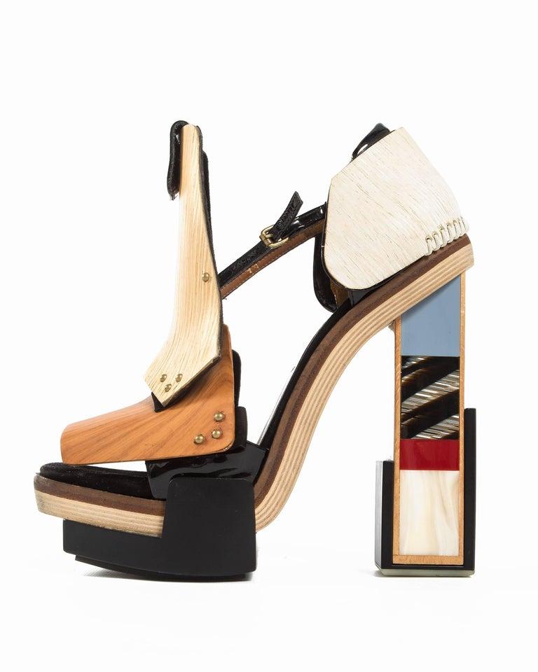 e049d020a6c Balenciaga by Nicolas Ghesquière mixed media wooden block heels  Autumn-Winter 2010