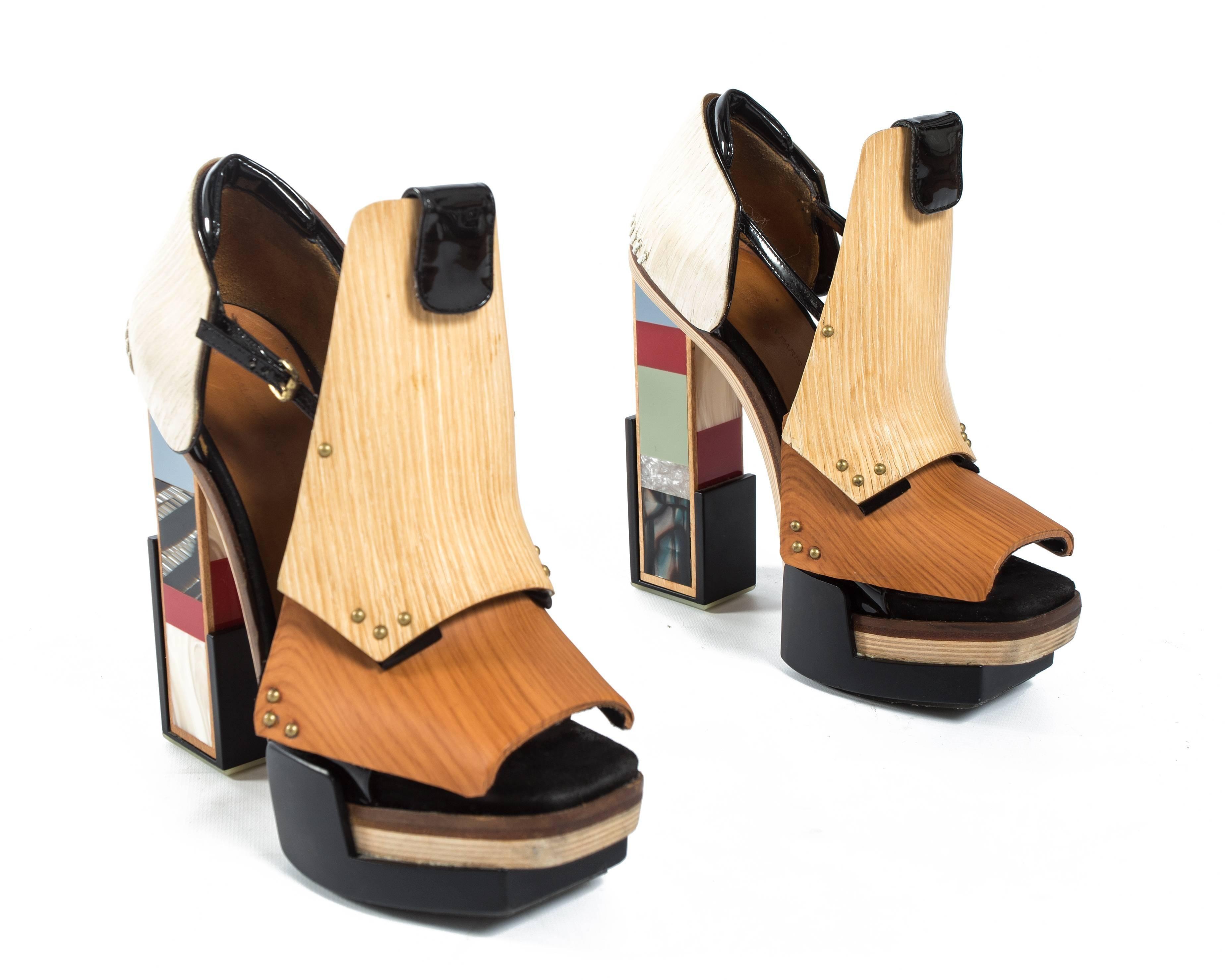 db56b44eaf6 Balenciaga by Nicolas Ghesquière mixed media wooden block heels