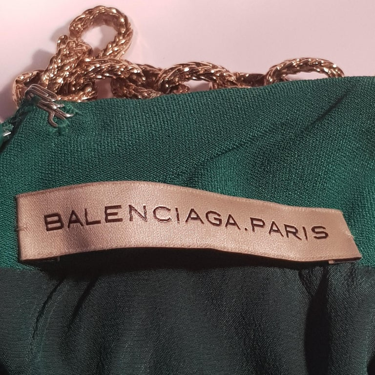 Blue Balenciaga Chain Embellished Gown For Sale