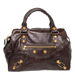 Balenciaga Charbon Leather GH Midday Bag