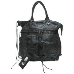 Balenciaga Charcoal Grey Large Leather Tote Bag