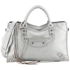 Balenciaga City Classic Studs Bag Metallic Leather Medium