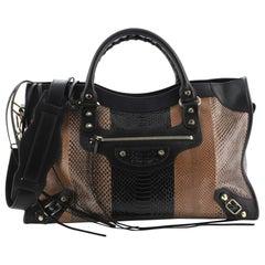 Balenciaga City Classic Studs Bag Patchwork Python Medium