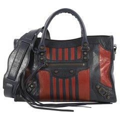Balenciaga City Classic Studs Bag Striped Leather Small