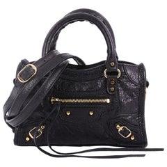 Balenciaga City Classic Studs Handbag Leather Nano