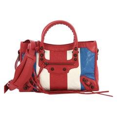 Balenciaga City Classic Studs Handbag Striped Leather Small