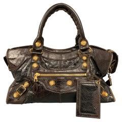 BALENCIAGA City Giant Studs Medium Brown Leather Satchel Handbag