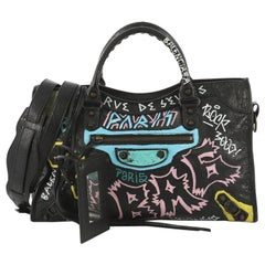 Balenciaga City Graffiti Classic Studs Bag Leather Medium
