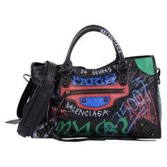 Balenciaga City Graffiti Classic Studs Handbag Leather Medium