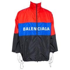 Balenciaga Color Block Logo Printed Synthetic Oversized Windbreaker Jacket XL