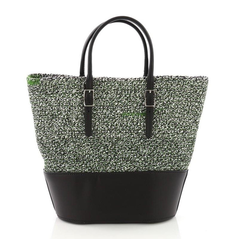 e3181a378a3 Balenciaga Convertible Shopper Tote Leather and Woven Fabric Small