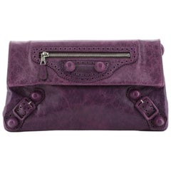 Balenciaga Covered Giant Brogues Envelope Clutch Leather
