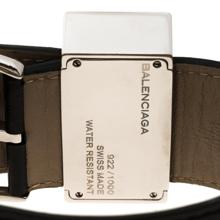 Contemporary Balenciaga Cream Stainless Steel Limited Edition Women's Wristwatch 45 mm For Sale