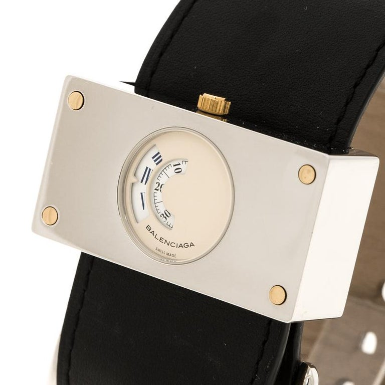 Balenciaga Cream Stainless Steel Limited Edition Women's Wristwatch 45 mm For Sale 1