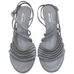Balenciaga Crystal Embellished Grey Suede Strappy Heels Sandals Size 39