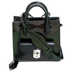 Balenciaga Dark Green Iridescent Patent Leather Mini Padlock All Afternoon Tote