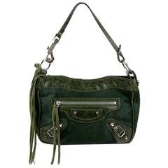 Balenciaga Dark Green Pony Hair Motocross Top Handle Mini Bag