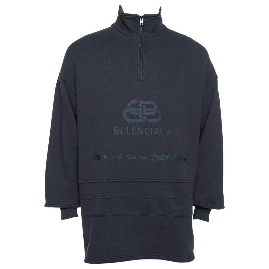 Balenciaga Dark Grey Cotton Logo Embroidered Drop Shoulder Oversized Sweatshirt