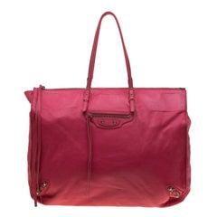 Balenciaga Dark Pink Leather Papier A4 Tote