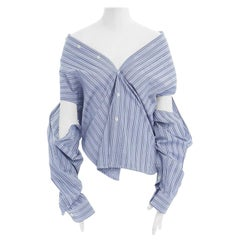 BALENCIAGA DEMNA 2016 blue striped off shoulder underarm cut out shirt FR38 M