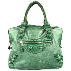 BALENCIAGA Distressed Green Leather Top Handles Handbag