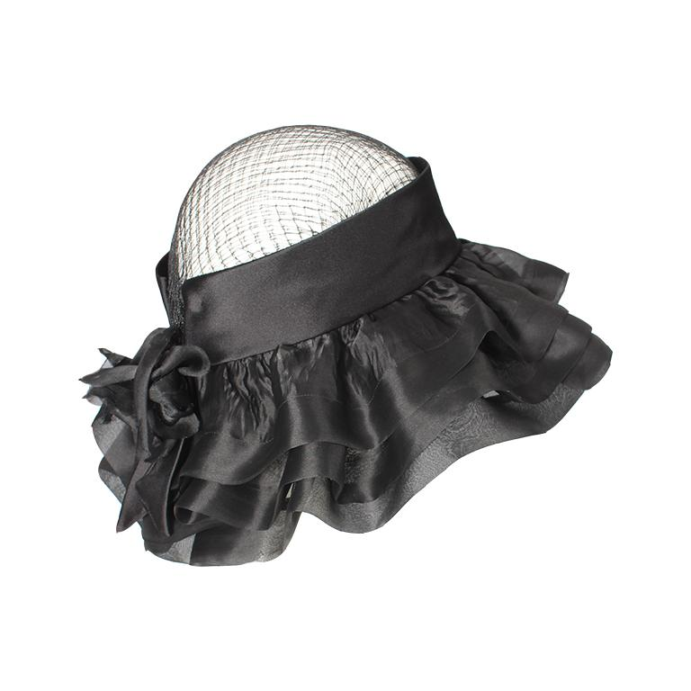 Black Balenciaga early 1960's black silk and mesh hat with floral embellishment  For Sale