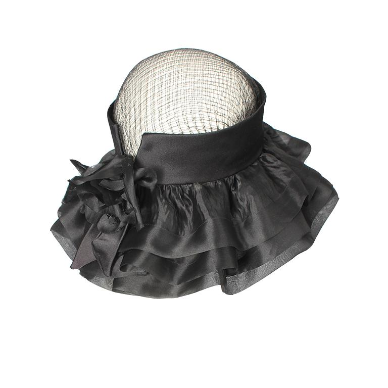 Women's Balenciaga early 1960's black silk and mesh hat with floral embellishment  For Sale
