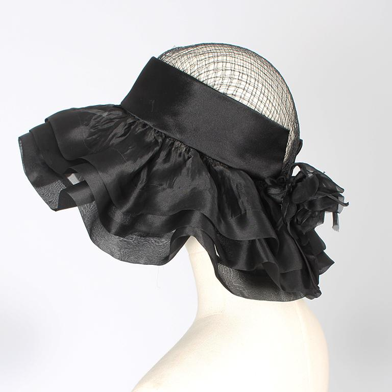Balenciaga early 1960's black silk and mesh hat with floral embellishment  For Sale 2