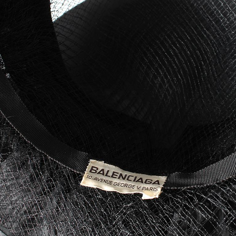 Balenciaga early 1960's black silk and mesh hat with floral embellishment  For Sale 3