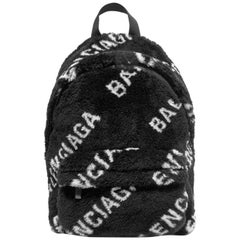 Balenciaga Everyday Leather and Canvas Trimmed Printed Faux Fur Backpack