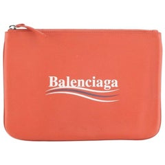 Balenciaga Everyday Script Logo Pouch Leather Medium