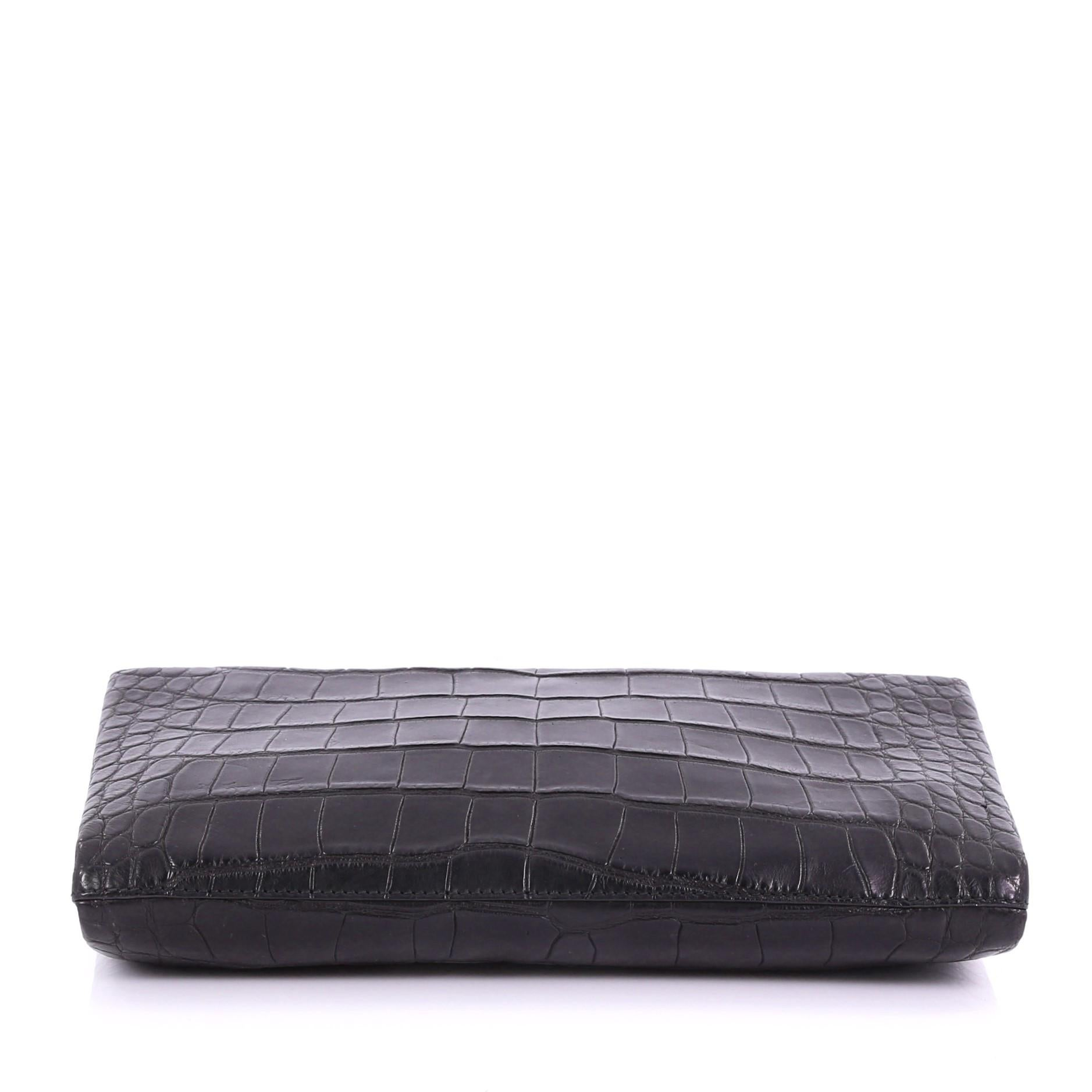 6d7333559eee Balenciaga Flap Clutch with Top Handle Embossed Crocodile and Leather  Medium at 1stdibs