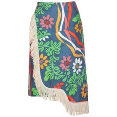 Balenciaga Floral print Fringe trim Knee length Skirt Runway ,2018