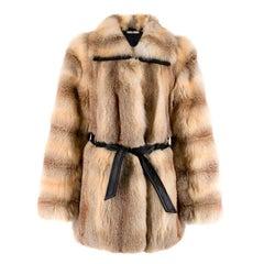 Balenciaga Fox Fur Coat with Leather Belt XS 40