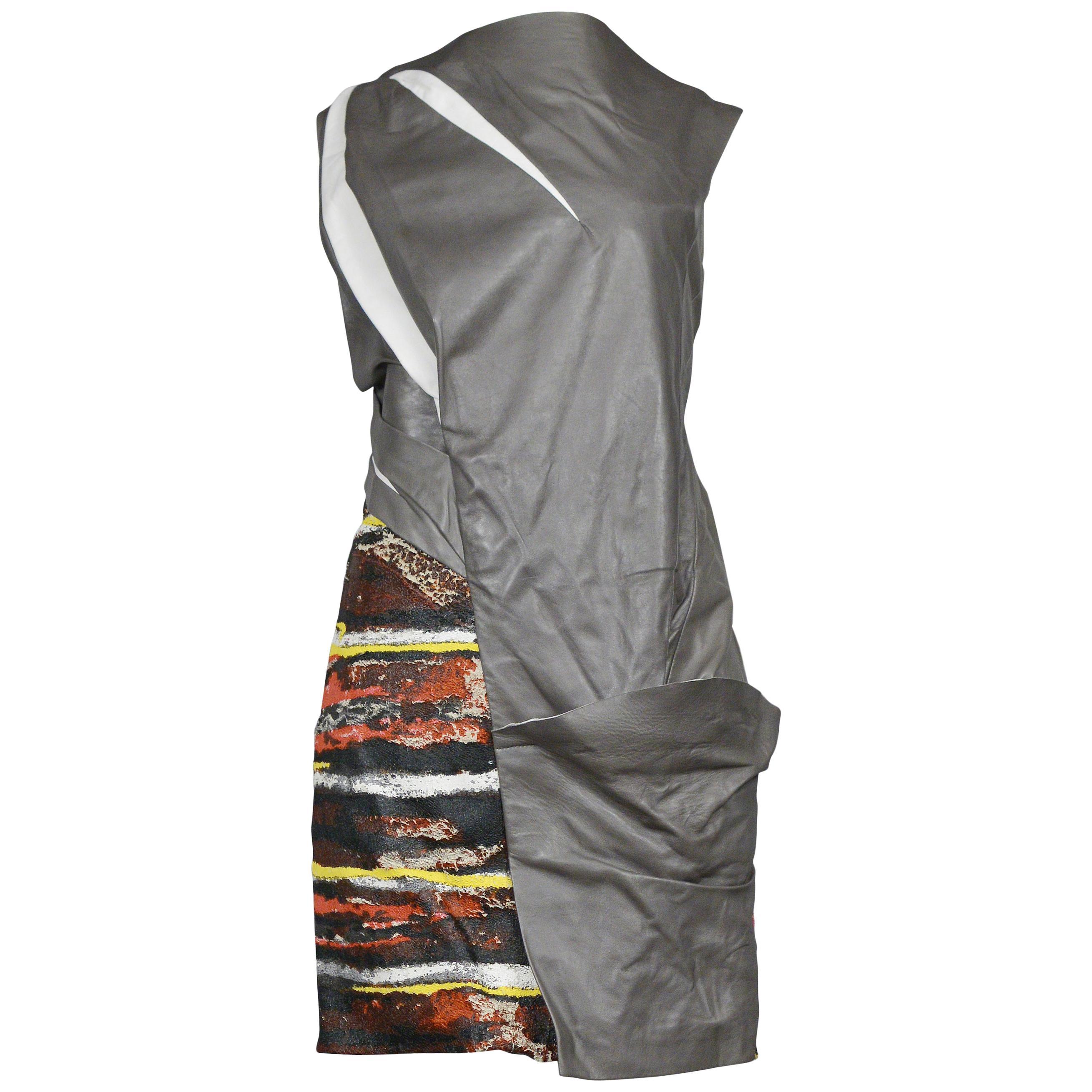 Balenciaga Futuristic Grey Leather & Print Dress 2010