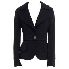 BALENCIAGA GHESQUIERE AW05 black wool twist lock fitted military jacket FR38 M
