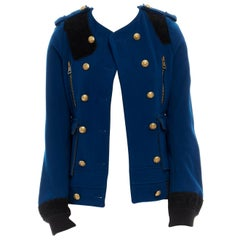 BALENCIAGA GHESQUIERE AW07 cobalt blue wool military bomber jacket FR36 US2 S