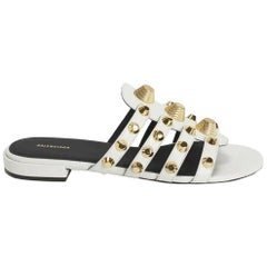 Balenciaga Giant Studded Glossed Textured-Leather Slides