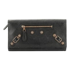 Balenciaga Giant Studs Continental Wallet with Strap Leather
