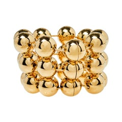 Balenciaga Gold Tone Triple Ball Layered Link Bracelet S
