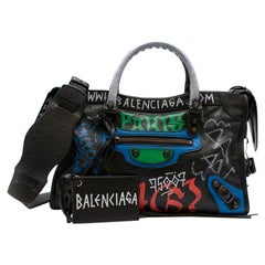 Balenciaga Grafitti Print Textured Leather Classic City Bag