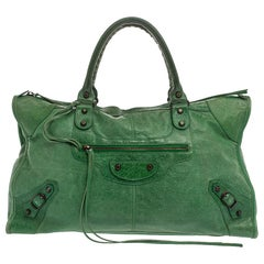 Balenciaga Grass Green Leather RH Work Tote