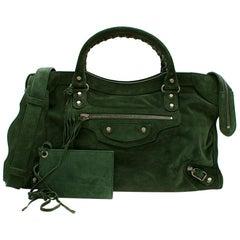 Balenciaga Green Arena Classic Suede City Bag