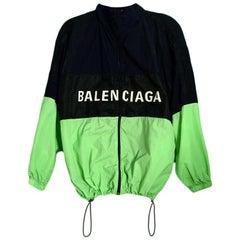 Balenciaga Green/Black/Navy Colorblock Zip Front Logo Windbreaker Jacket sz FR34
