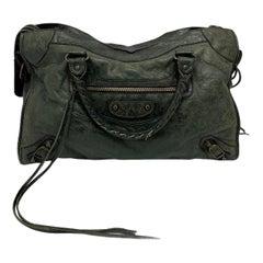 Balenciaga Green Leather City Bag with Brass Hardware