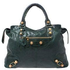 Balenciaga Green Leather Giant 21 Gold Hardware RTT Bag